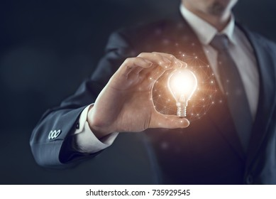 Hand of businessman holding illuminated light bulb, idea, innovation and inspiration concept.