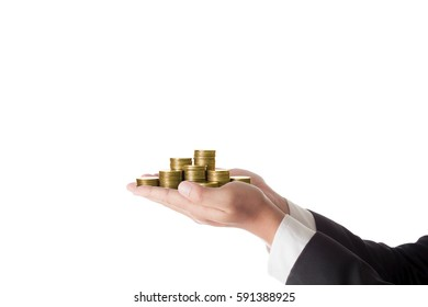 hand  businessman holding pile of coins isolated on white background / financial investment concept.Loan business