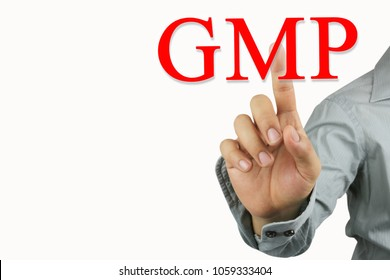 Hand of businessman point to the red GMP text isolated on white background for design in your work and have copy space.