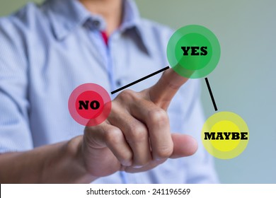 Hand of businessman press Yes button. Concept of decision making.