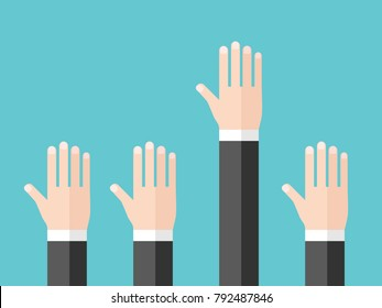 Hand of businessman raised to ask question, to answer or to volunteer. Education, training, meeting, conference and leadership concept. Flat design