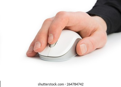 A Hand from a Businessman uses the mouse wheel isolated on a white background.