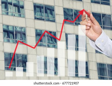 hand of businessman using red pen pointing to top business graph on Glass wall background of tall buildings,concept of investment and profits.
