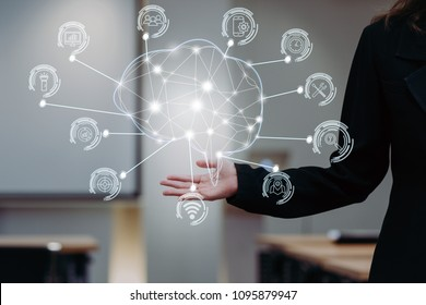 hand of businesswoman in gesture showing Polygonal brain shape of an artificial intelligence with various icon of smart city Internet of Things Technology on modern office, Business AI and IOT concept