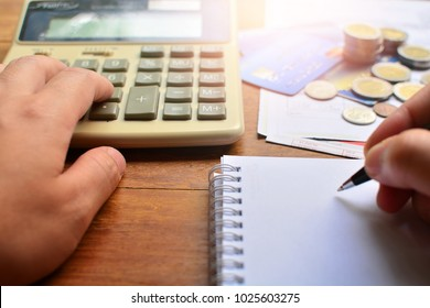 hand calculated about finance accounting for concept business financial and debt