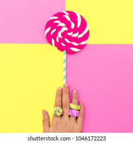 Hand candy loly pop Minimal sweet art