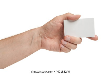Hand with card isolated on white background