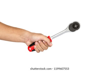 Hand of carpenter holding ratchet torque wrench isolate on white background.Equipment of technician.Labor market of joiner and craftsman concept.