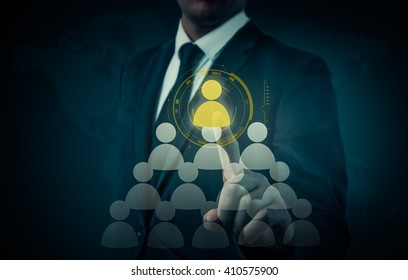 Hand carrying businessman icon network - HR,HRM,MLM, teamwork and leadership concept.