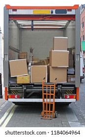 Hand Cart and Boxes Delivery Truck Cargo