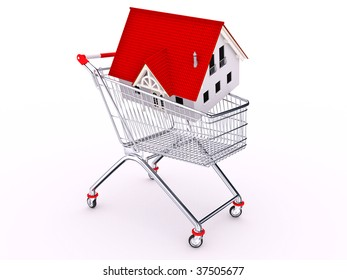 Hand cart with house on white background