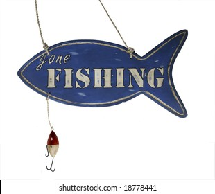 Hand Carved hanging wooden Gone Fishing Sign with hook