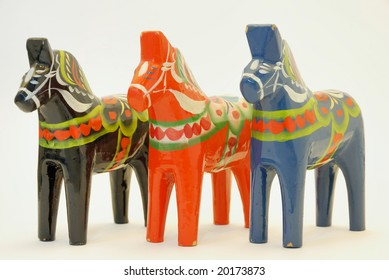 Hand carved horses from Dalarna Sweden.