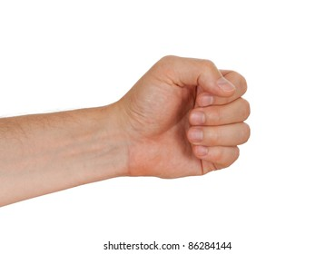 Hand of a caucasian male to hold hammer, bunch of flowers or other tool, isolated on white