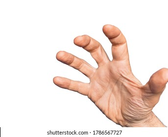 Hand of caucasian middle age man over isolated white background grasping aggressive and scary with fingers, violence and frustration