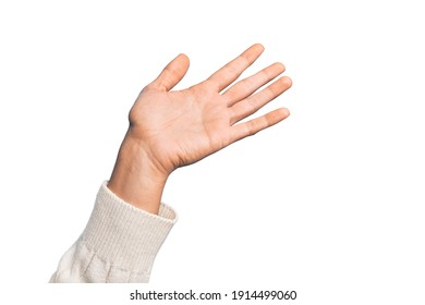 Hand of caucasian young man showing fingers over isolated white background presenting with open palm, reaching for support and help, assistance gesture