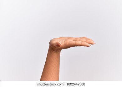 Hand of caucasian young woman with flat palm presenting product, offer and giving gesture, blank copy space