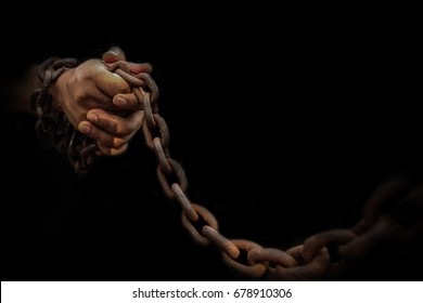 Hand chain binding restraint No freedom in darkness