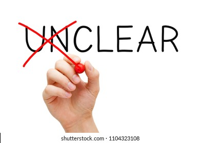 Hand changing the word Unclear into Clear with red marker isolated on white.