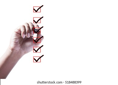 Hand Checking of the all item in check box on white background.