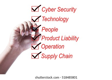 Hand Checking of all item of a risk assessment checklist on white background
