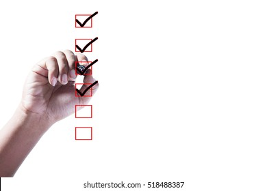 Hand Checking of the first,second,third and fourth item in check box on white background.