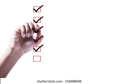 Hand Checking of the first,second,third,fourth and fifth item in check box on white background.