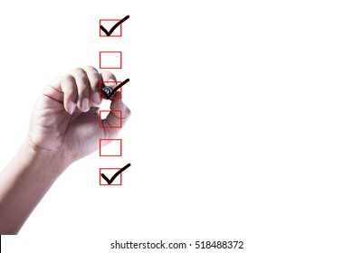 Hand Checking of the first,third and sixth item in check box on white background.