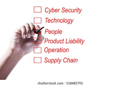 Hand Checking of the third item of a risk assessment checklist on white background