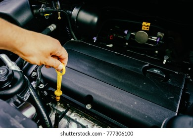 The hand checks the oil in the engine