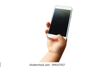 hand of child holding mobile phone ,isolate white background