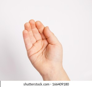 Hand of a child holding something, white background
