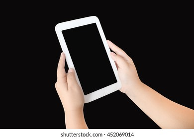 hand of child holding tablet ,isolate black background
