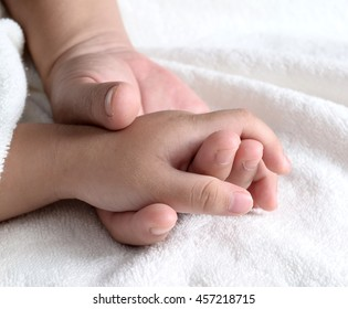 Hand of the child in a hand of mother