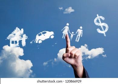 hand choosing cloud shape as responsibility sign
