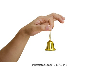 hand and Christmas bell isolated on white background