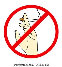 Hand with cigarette illustration. Stop smoking concept advertisement. Doodle style. Design icon, print, logo, poster, symbol, decor, textile, paper