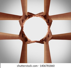 Hand circle and a group of hands forming a cross as a group diversity symbol and multiracial togetherness as ethnic community joining  together.
