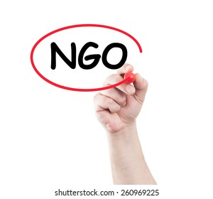 Hand circle ngo text on transparent wipe board with white background and copy space. Non governmental organization concept