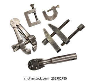 Hand clamps on white background