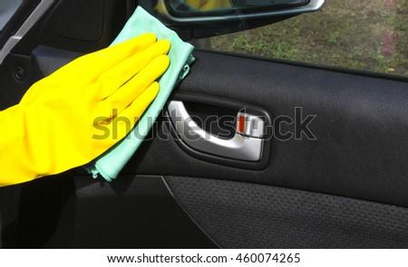 Hand Cleaning Interior Car Door Panel Stock Photo Edit Now