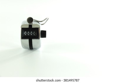 hand clicker counter on white background