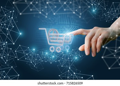 Hand clicks on the shopping cart in the network. The concept of innovation in e-Commerce.