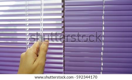 Hand Closes Colour Aluminium Venetian Blinds Stock Photo Edit Now