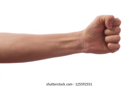 A hand clutched in his fist
