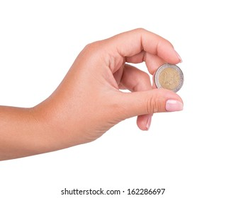 hand coin isolated on white background