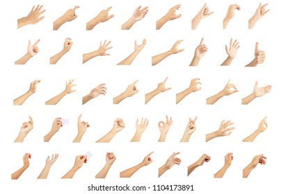 hand collection in gestures with white skin isolated on white background