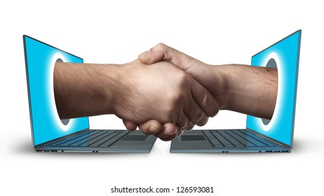 A hand comes right out of the laptop screen to shake hands CONCEPT. isolated on white background High resolution