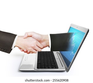 hand comes right out of the laptop screen to shake hands