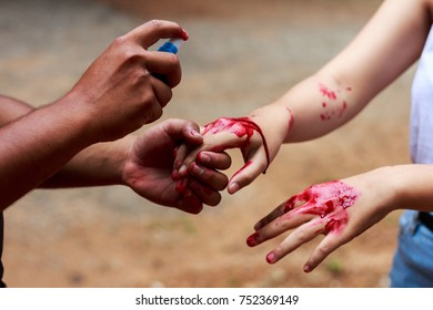 The hand was composed. With fake blood